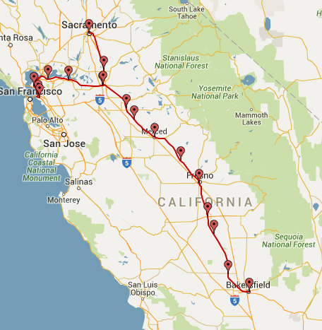 Amtrak San Joaquin routes