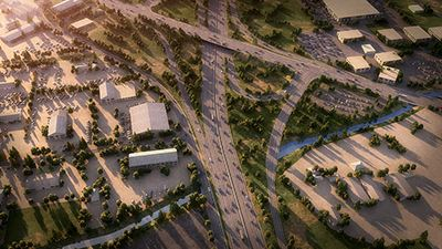 Image of computer-generated picture of aerial view of Stockton Highway 99