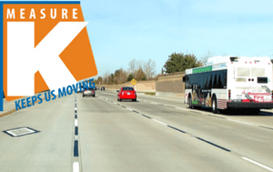 image of traffic on I-5 in Stockton at March Lane with Measure K logo overlay
