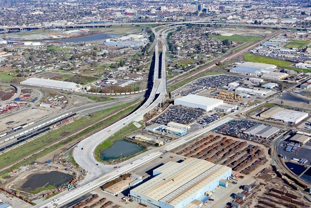aerial view of the Crosstown Freeway extension