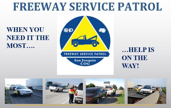 various photos showing freeway service patrol assisting stranded motorists