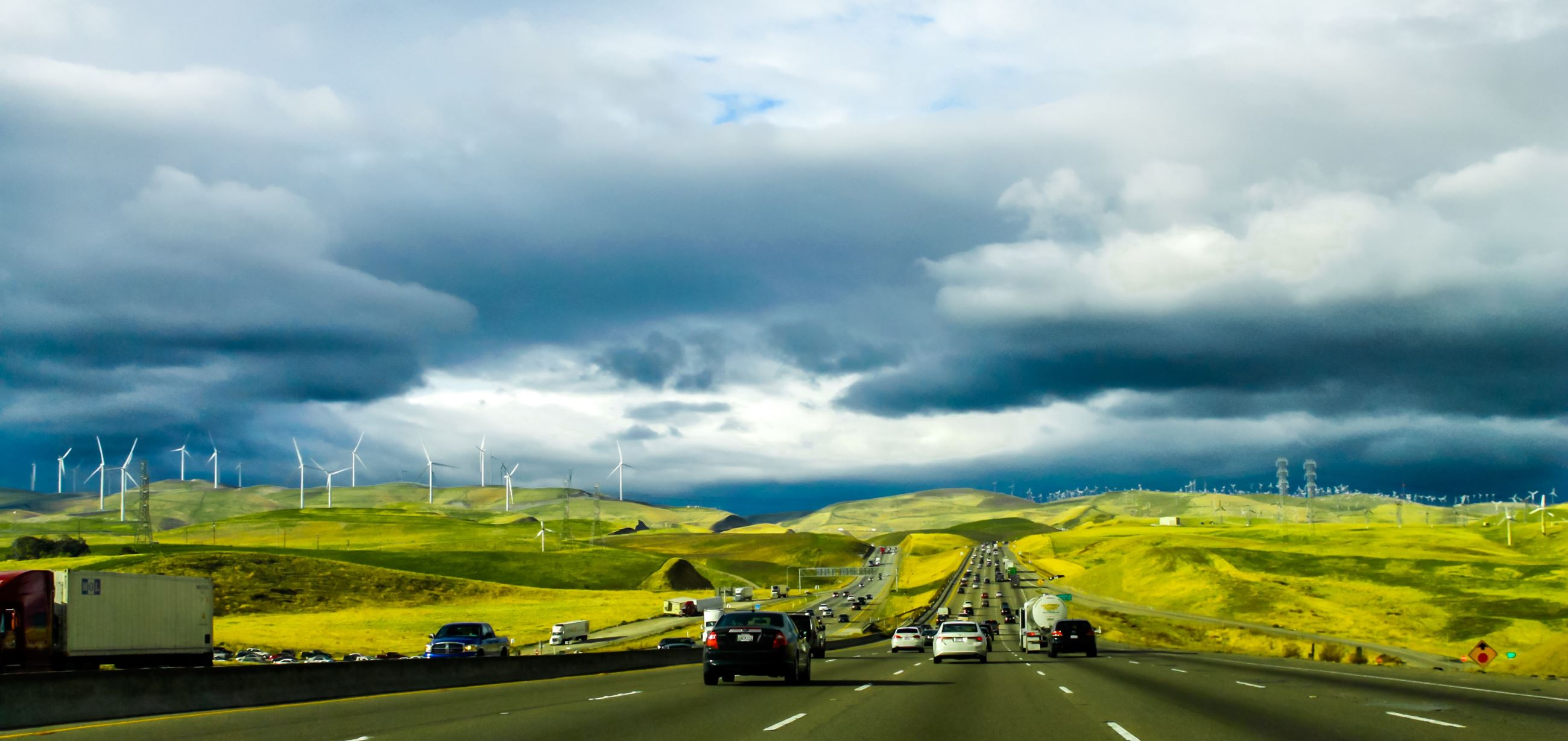 Image of a Freeway view of the Altamont Pass