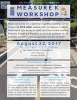 Measure K Bicycle, Pedestrian, and Safe Routes to School/Smart Growth Workshop Flyer